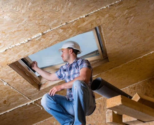 Professional working on a New skylight opening