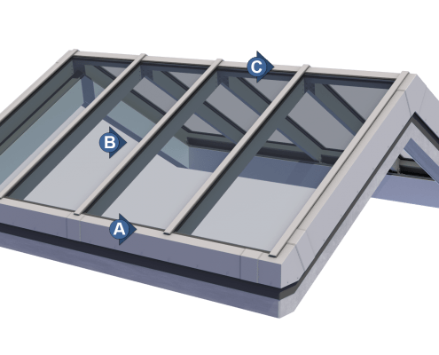 Double Pitch Skylight Technical Drawing