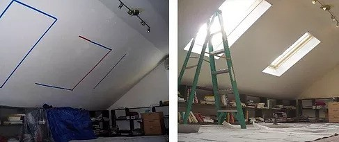 Roof Ceiling skylight installation
